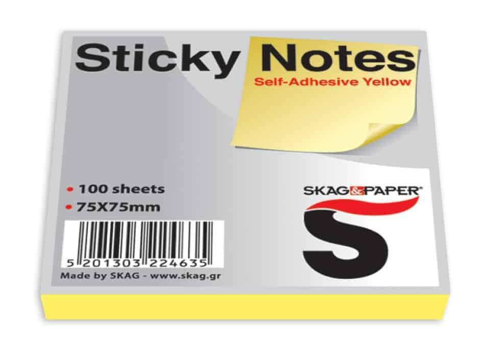 αυτοκολλητα χαρτ. σημειωσεων κιτρινο 100φ skag officeworld