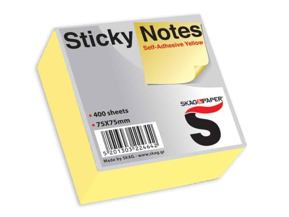 αυτοκολλητα χαρτ. σημειωσεων κιτρινο 400φ skag officeworld
