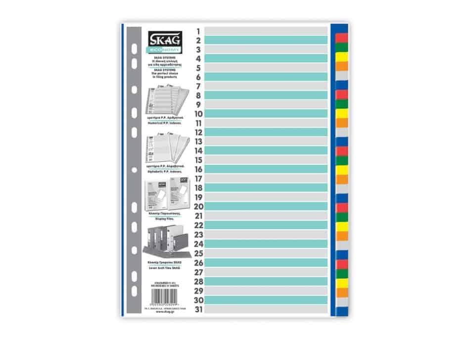 ευρετήρια πολυπροπυνέλειο p.p χρωματιστα eco skag 1-31 officeworld