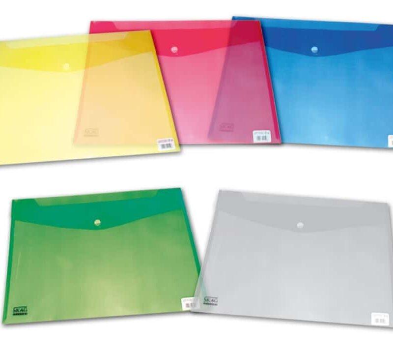 φάκελος p.p. διαφανή a4 με velcro όλα τα χρώματα