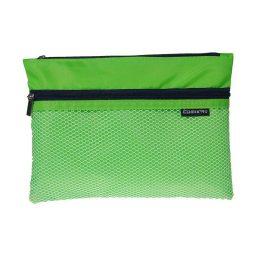 Τσαντάκι με φερμουάρ και θήκη Β6 πράσινο Y21x15,5εκ Comix