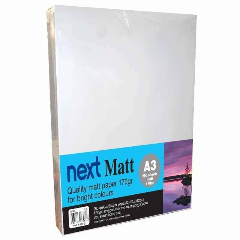 Matt A3 170gr. premium matt paper 250ph. Next