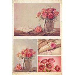 Charti decoupage 'Flowers' 32x48cm